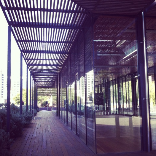 Reverend Samuel Marsden's complaints about the lack of bolts on the hospital doors is now integrated into the modern architectural structure by Bates Smart in the Parramatta Justice Precinct Heritage Courtyard. Photo: Michaela Ann Cameron (2014)