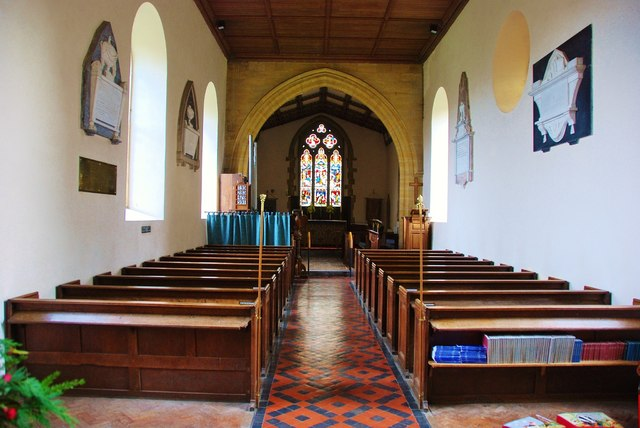 Inside St Osmonds, where Lydia was baptised in 1765. Photo: © Copyright Eugene Birchall and licensed for reuse under this Creative Commons Licence