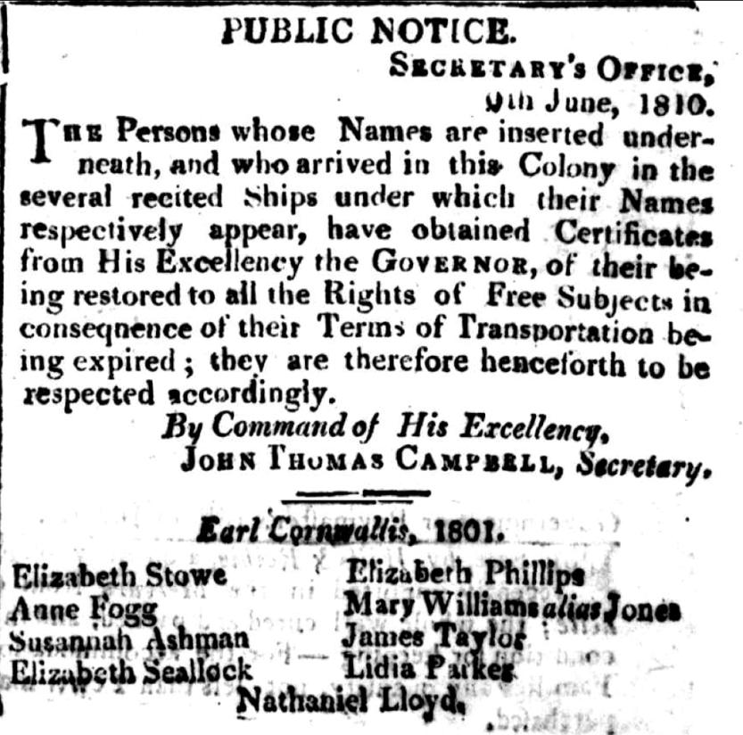 Public announcement of Lydia's emancipation, 9 June 1810