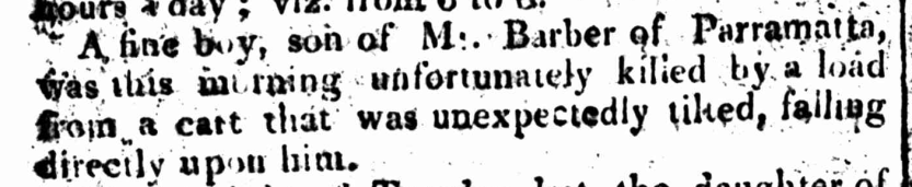 Newspaper report of the death of Lydia's 9-year-old son, David, The Sydney Gazette and New South Wales Advertiser, Saturday 2 May 1812, p.2