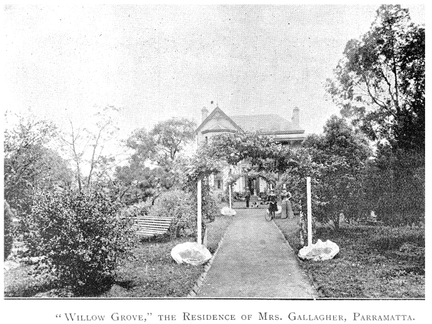 Willow Grove, 34 Phillip St., Parramatta, c.1886. Photo courtesy of Sam Agostino and used with permission.