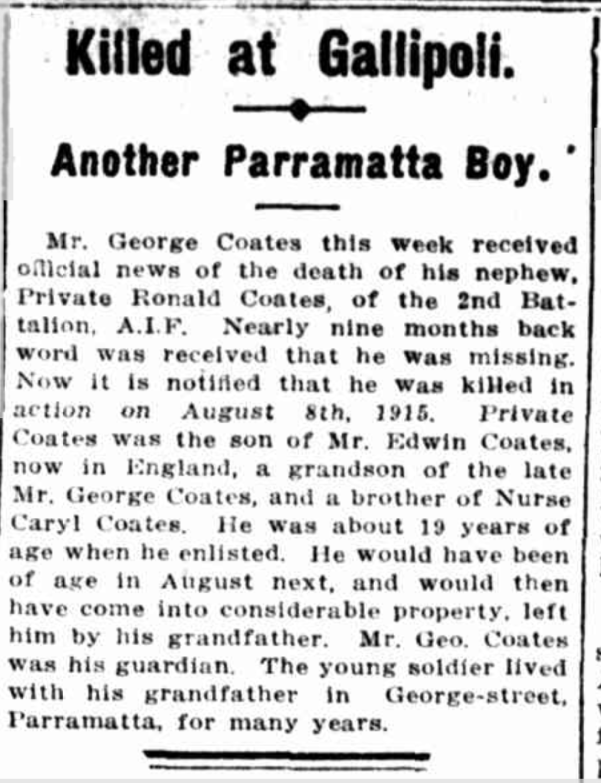 """Killed at Gallipoli. Another Parramatta Boy,"" The Cumberland Argus and Fruitgrowers Advocate (Parramatta, NSW: 1888 - 1950), Wednesday 24 May 1916, p. 3"