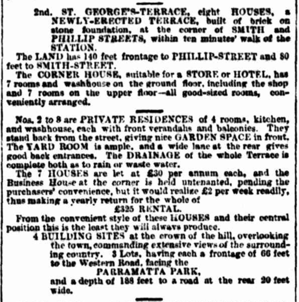 St George's Terrace Advertisement 1881